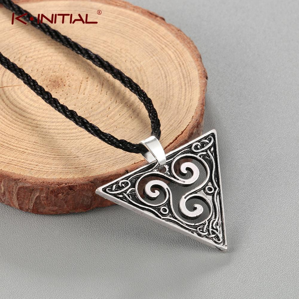 Kinitial Hot Viking Pagan Pendants & Necklaces Hollow Geometric Triangle Spirals Necklace Teen Wolf Statement Jewelry Party Gift image