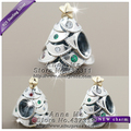 2016 Winter NEW Woman Jewelry Festive Tree, Multi-Colored CZ Charm With Real K Gold S925 Silver beads Fit European Bracelets G
