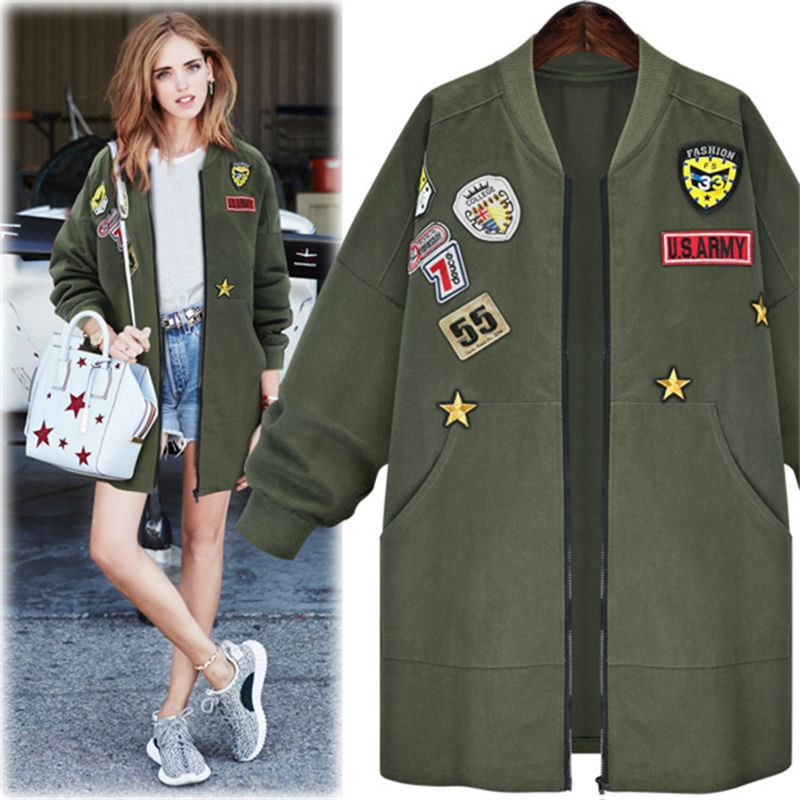Brieuces new Women   Basic   Coats Peony floral Army Green Summer Embroidery   Jacket   Streetwear patches Rivet Zipper Retro Parkas