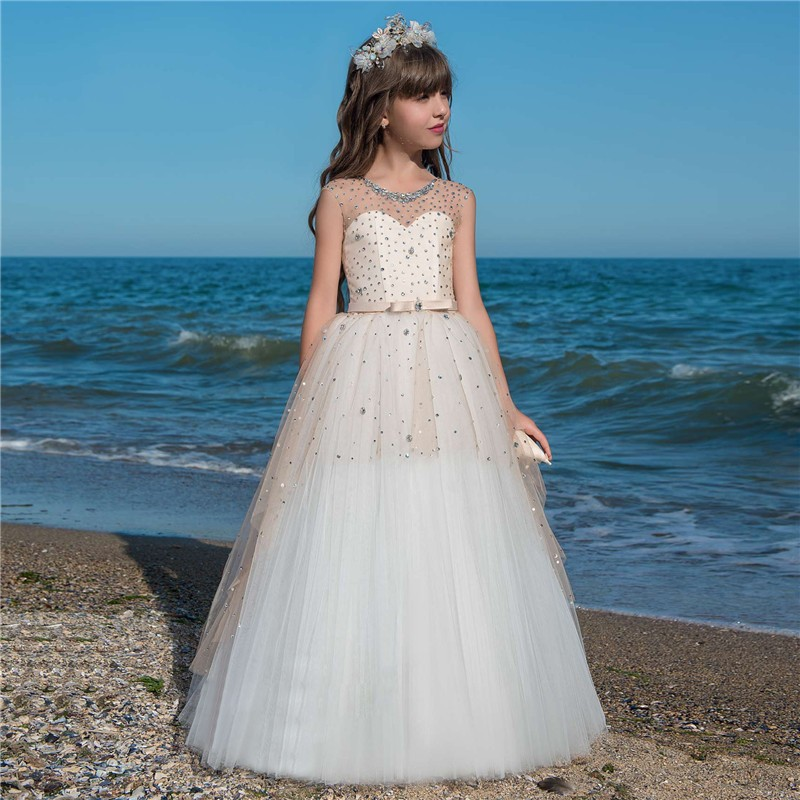 Princess Crystals   Flower     Girl     Dresses   2019 Tulle   Girls   Pageant   Dress   First Communion   Dresses   For   Girls   Vestido Longo Kids   Dress