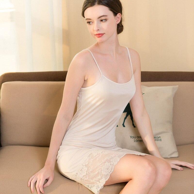 100% Silk Women Dress Sexy Lace and Silk Knitted Sling Skirts Ladies Medium Length Petticoat Skirts(China)