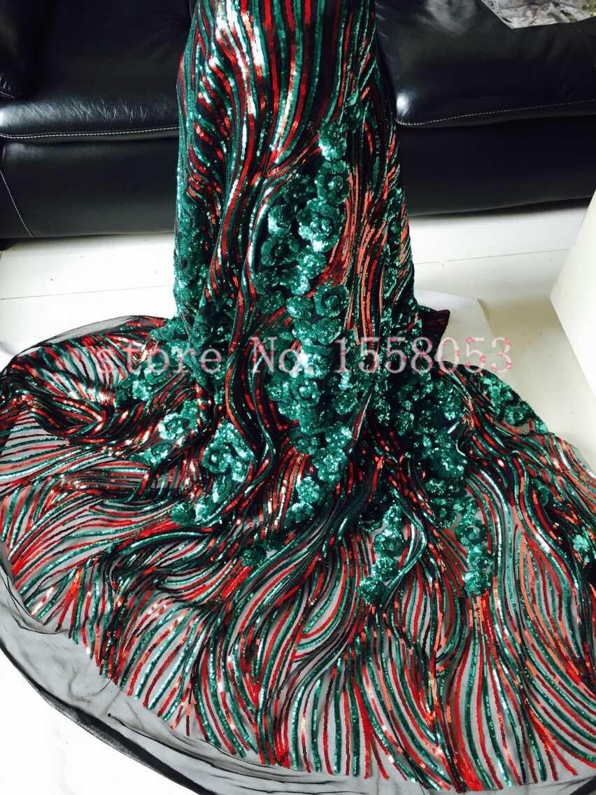 Ev ve Bahçe'ten Dantel'de Güzel fransız pullu mesh dantel kumaş YEŞIL ve KıRMıZı/madeni pul net kumaş LJY 61914 parti elbise için'da  Grup 1