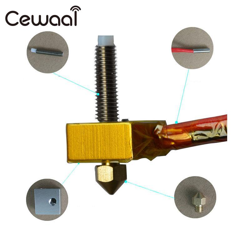 CEWAAL 4pcs 3D Printer Parts Assembly Extruder Hot End Kit For Prusa i3 3D Printer MK8 3D Printer MK8 Nozzle DIY 3d printer parts lulzbot budasch nozzle hot end 0 35 mm copper nozzle with resistor heating element 6 8 ohm great quality