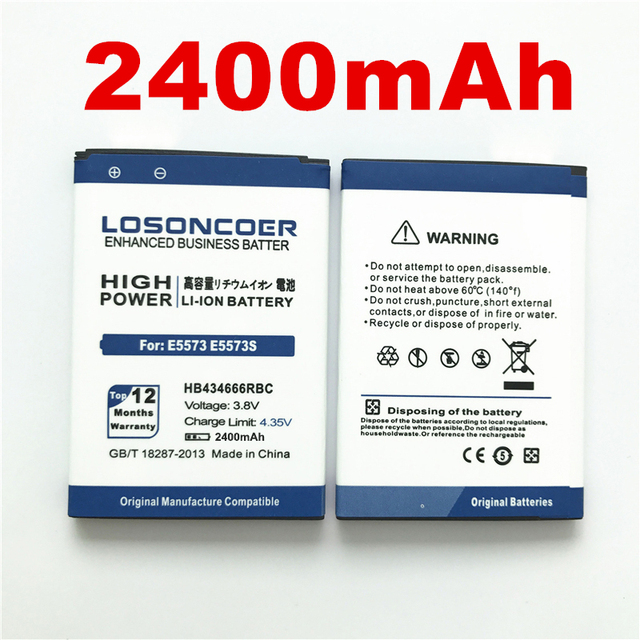 US $9 31 6% OFF 100% Original LOSONCOER 2400mAh HB434666RBC Phone Battery  For Huawei E5573 E5573S E5573S 32 E5573S 320 E5573S 606 E5573S 806-in  Mobile