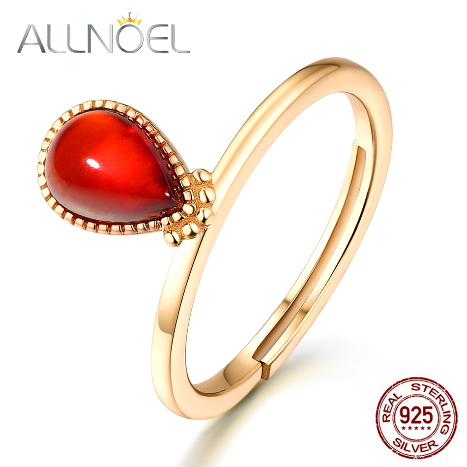 ALLNOEL S925 Sterling Silver Garnet Ring For Women Natural Red Garnet Classic Teardrop Halo Ring Engagement Fine Jewelry Gift ALLNOEL S925 Sterling Silver Garnet Ring For Women Natural Red Garnet Classic Teardrop Halo Ring Engagement Fine Jewelry Gift
