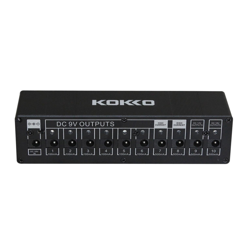 KOKKO Guitar Pedal Power Supply Compact 10ways Out 7ways 9V100ma DC 9V/12V/18V Safety Voltage Protection