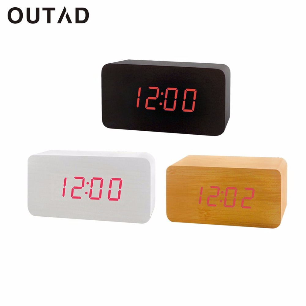 Fashionable Wooden LED Display Clocks Electronic Alarm Clock Voice Control Decorative Digital Desktop Clock For Bedroom Study