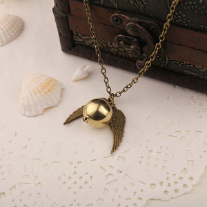 Image 3 - 24 Pcs/Lot Magician School Angel Wings The Seeker Charm Quidditch Golden Snitch Pendent Necklace Jewelry Bulk Wholesale