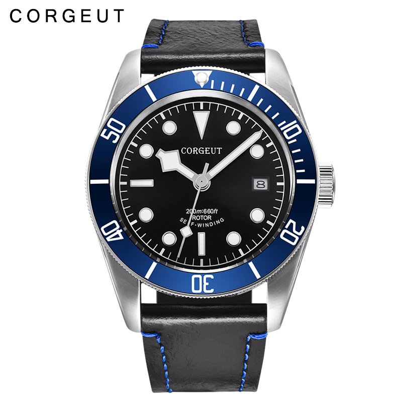 лучшая цена 41MM Corgeut sapphire glass black dial blue Rotatable Bezel Luminous mens miyota 8215 Automatic Wristwatch