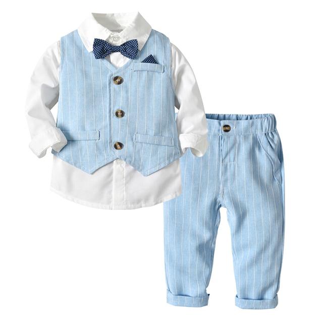 b5ba0c17d Trajes para niños chaquetas ropa trajes para la boda Formal de fiesta de  bebé a rayas chaleco camisa pantalones niños niño prendas de vestir  exteriores ropa ...
