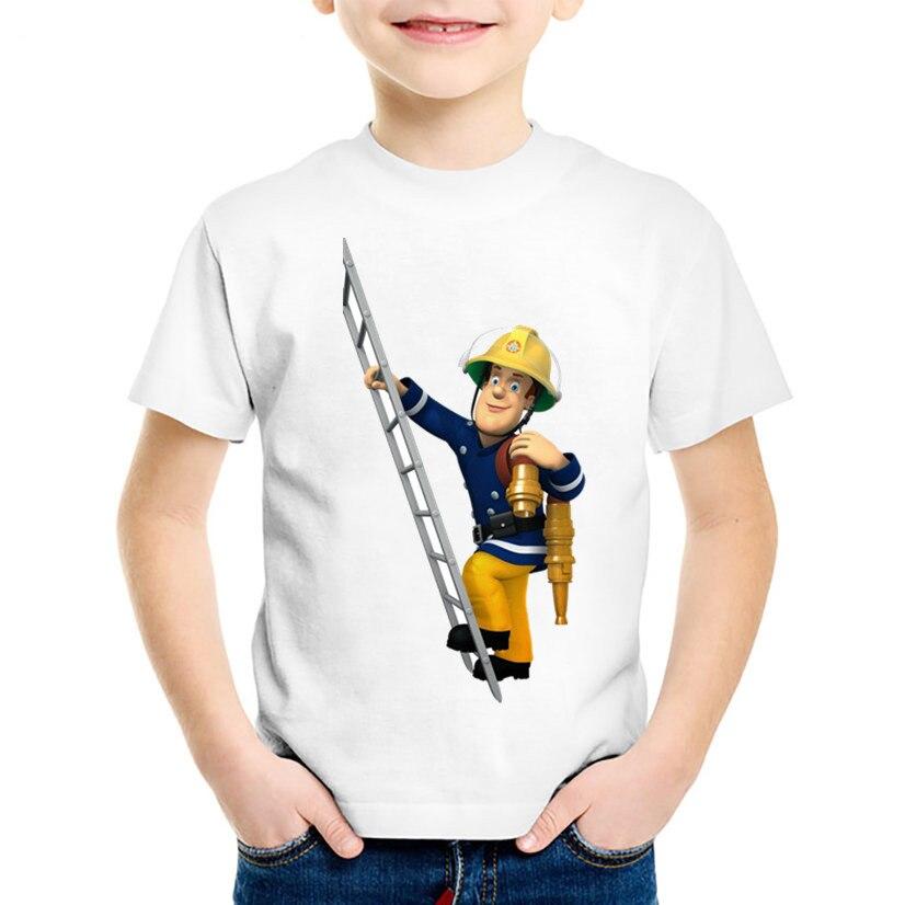 Children Cartoon Fireman Sam Funny T shirt Kids Short Sleeve Summer Tops Baby Boys/Girls Casual Clothes,HKP2078