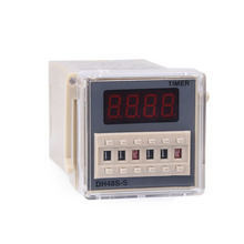 лучшая цена DH48S-S AC 220V repeat cycle SPDT time relay with socket DH48S series 220VAC delay timer with base