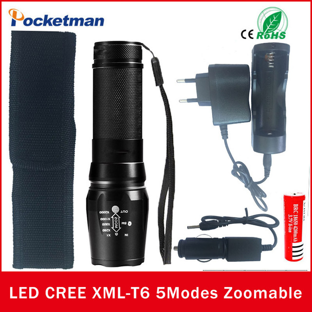 4000 Lumens Xml T6 Led Flashlight Waterproof Zoomable Adjustable