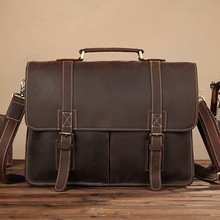 Leather cowhide retro men's bags crazy horse hand the bill of lading shoulder bag briefcase Business computer bag