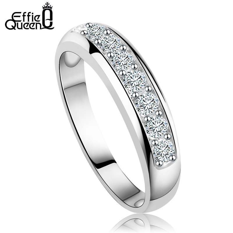 Effie Queen Luxury Women Wedding Band with Heart and Arrow Cut Clear Zircon Fashion Ring for Women DR24