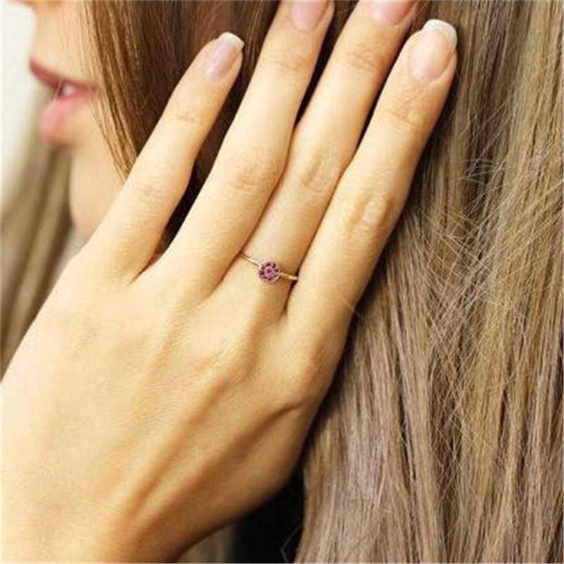 العقيق الأحمر شخصية الأحمر اللون الزركون روز الذهب خاتم الحب القلب رومانسية البنصر للنساء مجوهرات الزفاف باجي A40