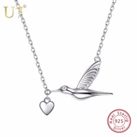 U7 100 925 Sterling Silver Bird Flying With Heart Pendant Chain Valentine S Day Gift For