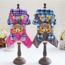 Couple Cartoon Bear Dog Clothes For Small Dogs Plaid Winter Coat French Bulldog Jacket Funny Outfit Chihuahua Puppy Pet Clothes cartoon funny christmas dog clothes for small dogs winter coat french bulldog jacket chihuahua shih tzu outfit puppy pet clothes