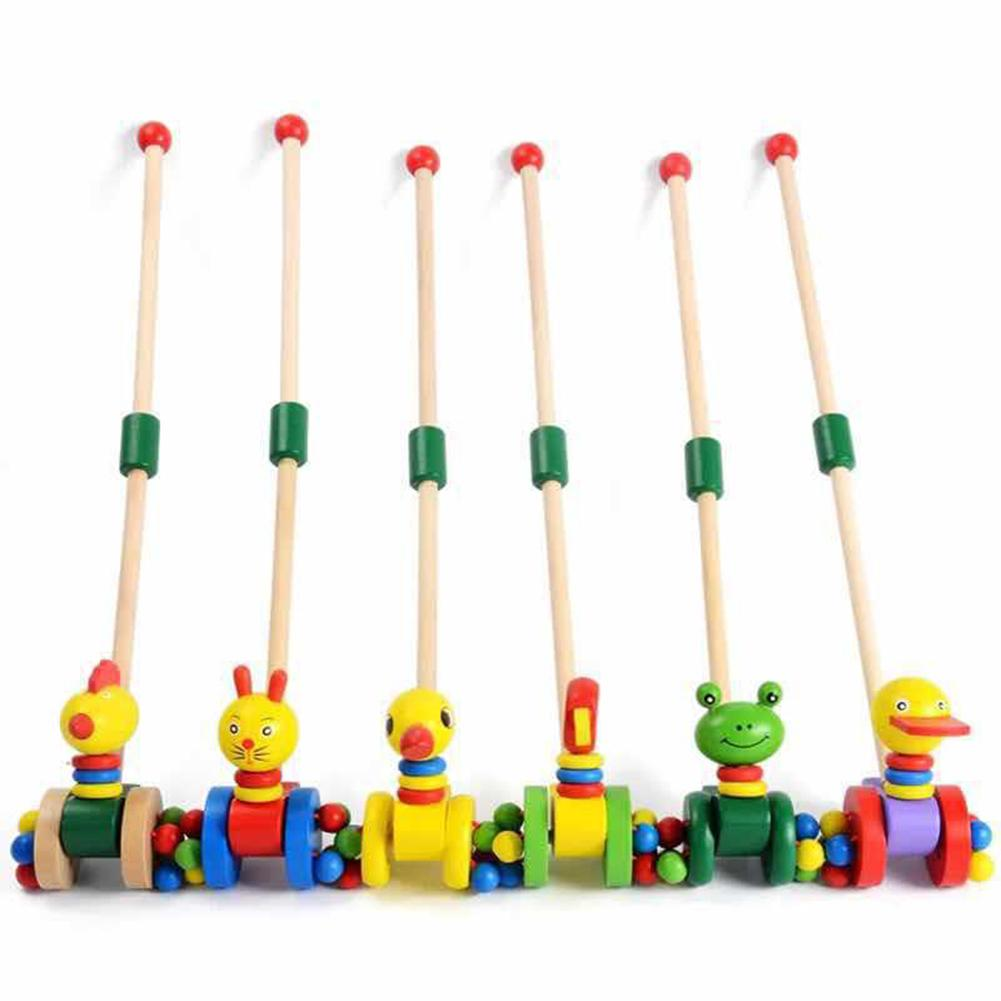 Educational Toys Children's Wooden Cart Push Rod Ducklings Cute Cartoon Animal Funny Wooden Car Disassembly Yo-Yo Trolley Toy(China)