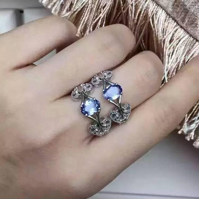Естественный голубой танзанит gem Кольцо Натуральный камень кольцо стерлингового серебра 925 модный элегантный Уши облако женщины партии fine Jewelry