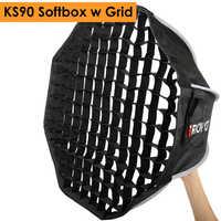 Triopo 90 cm Speedlite Softbox portátil con rejilla de panal al aire Libre Flash Octagon paraguas caja suave para Canon Nikon Godox yongnuo