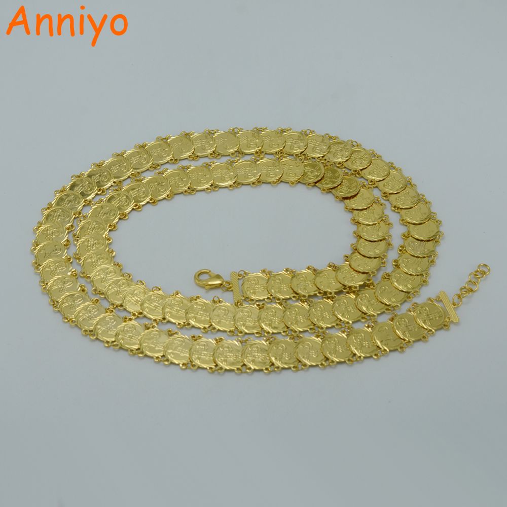 Anniyo Turkey Coin Belt for Women Gold Color Arab Metal Wedding Belly Jewelry Middle East Africa Egypt/Turkish #013906