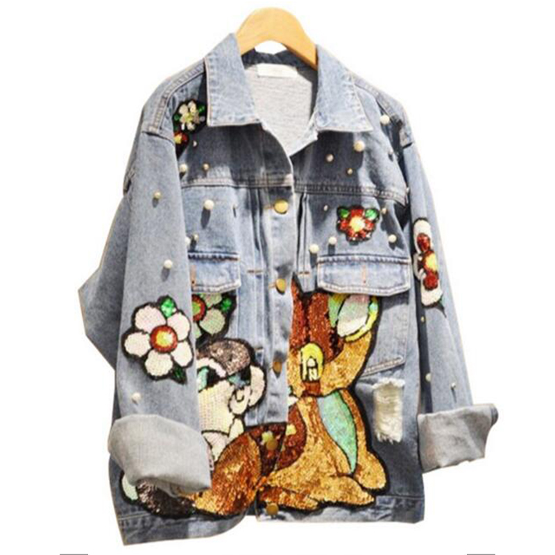 Cartoon Sequins Bomber Flowers Embroidered Denim Coat Woman Cowboy Beads Sequined Buttons Casual Jacket Chic Outwear
