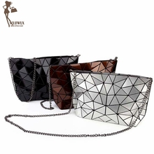 WUSWUX fashion PU Geometric folding women bag 2016 handbag stone zipper messenger bags chains famous brand shoulder