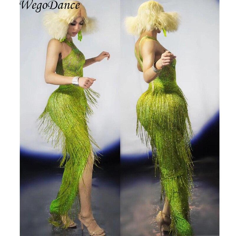 new Fashion Green Fringes Women Evening Birthday Celebrate Tassel Dress Nightclub Stage Women Singer Dancer costume