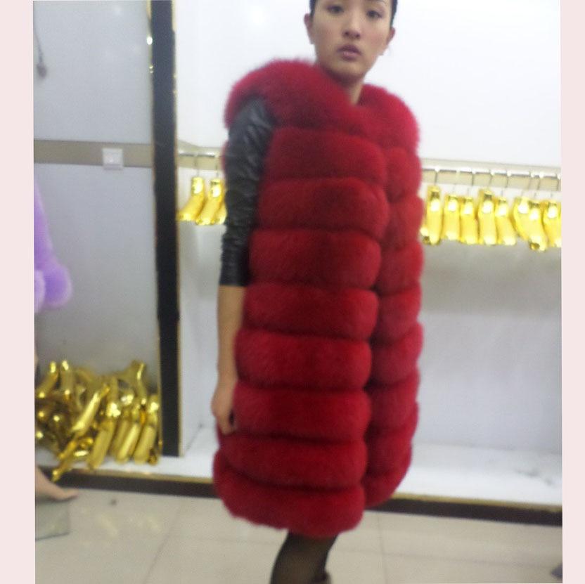 Linhaoshengyue 90CM երկար իրական մորթյա աղվեսի - Կանացի հագուստ - Լուսանկար 2
