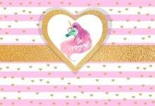 Laeacco Cartoon Unicorn Love Heart Wedding Party Photography Backgrounds Customized Photographic Backdrops For Photo Studio