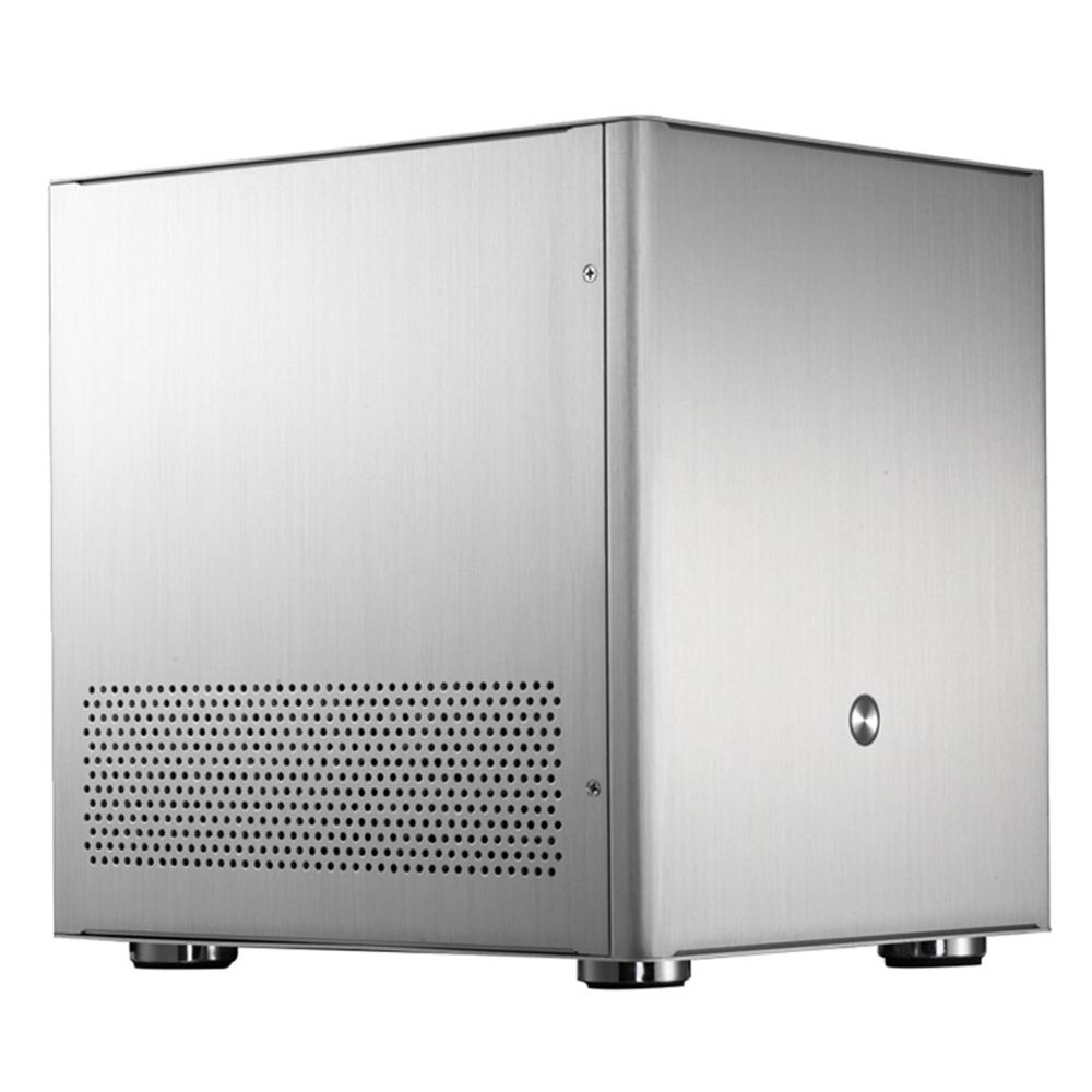Aluminum Alloy Mini Desktop Computer Case For M-ATX ITX Mainboard Silver Computer Host Case Towers With 4pcs Expansion Slots