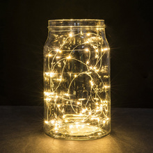 String light Strip  LED string strip light 1 meters 10 light Button Battery copper wire string holiday decoration lights