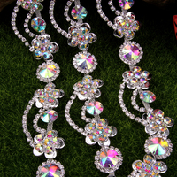 1 yard 3.0 cm Flower Crystal Chain Trims DIY Necklace Neckline of Dress Swimwear Shirt Costume Belt Silver Gold Plated