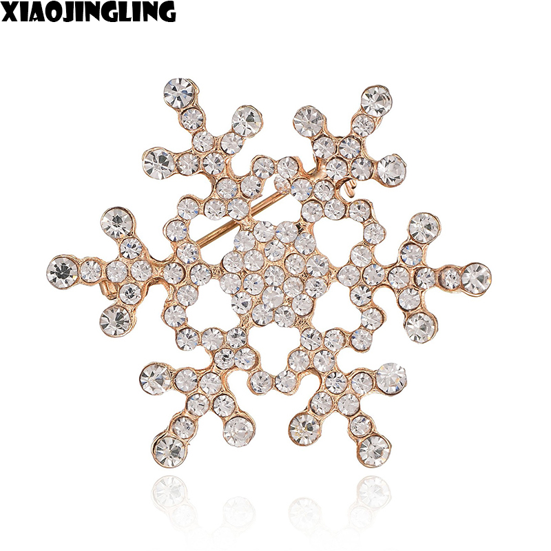 XIAOJINGLING Christmas Snowflake Gold Brooches Rhinestones Brooches Pin Scarf Sweater Accessories For Women Christmas Gift 2017