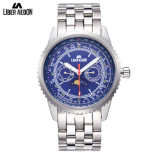 Liber Aedon Silver Stainless Steel Men's Watches Top Brand Luxury Business Quartz Leisure Sport Mens Multifunction Wrist Watch