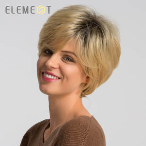 Element Wig-Mix Party-Wigs Synthetic 50%Human-Hair Pixie Short Straight for Women Black