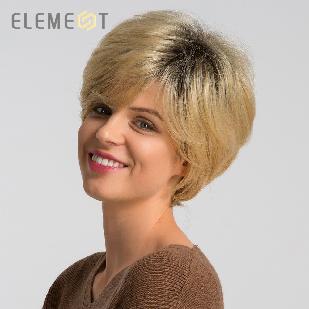 Element 6 Inch Synthetic Wig Mix 50% Human Hair For Women Ombre Brown Fashion Pixie Cut Cosplay Party Wigs Free Shipping