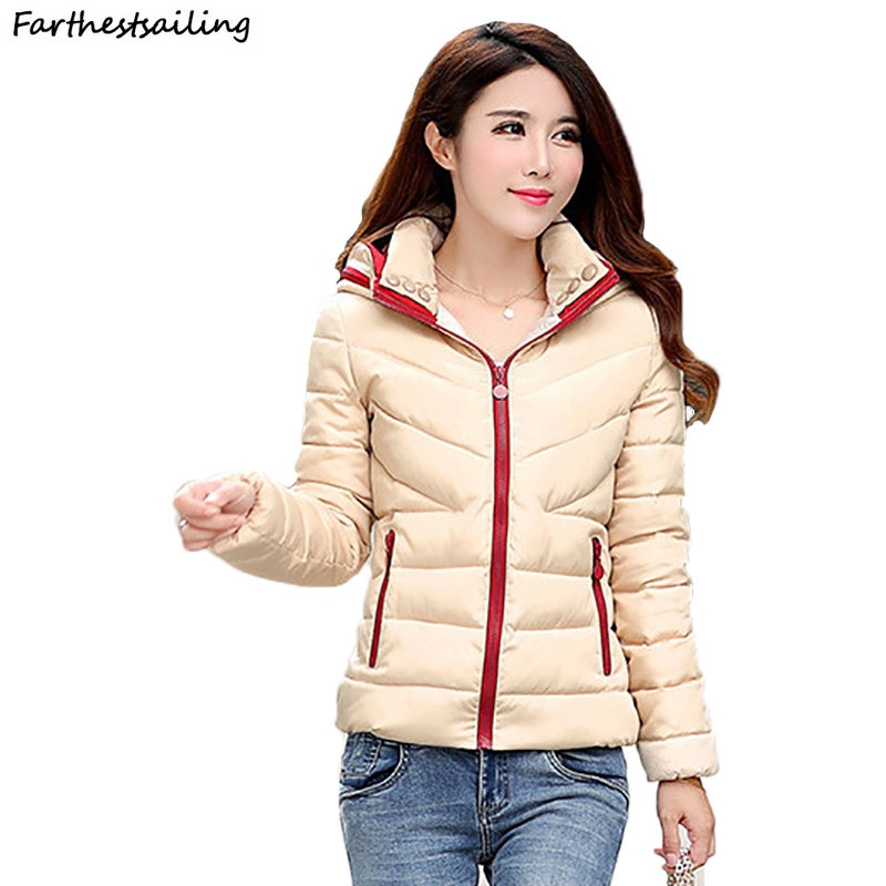 2018 New Ladies Fashion Coat Autumn Winter Jacket Women Hooded Outerwear Short Wadded Jacket Female Padded   Parka   Women Overcoat