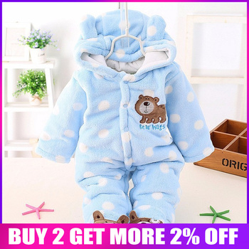 Bibicola Baby Rompers Newborn Winter Costume Bebe Boy Clothes Long Sleeve Warm Clothing Baby Girl Cute Animal Overall Jumpsuit
