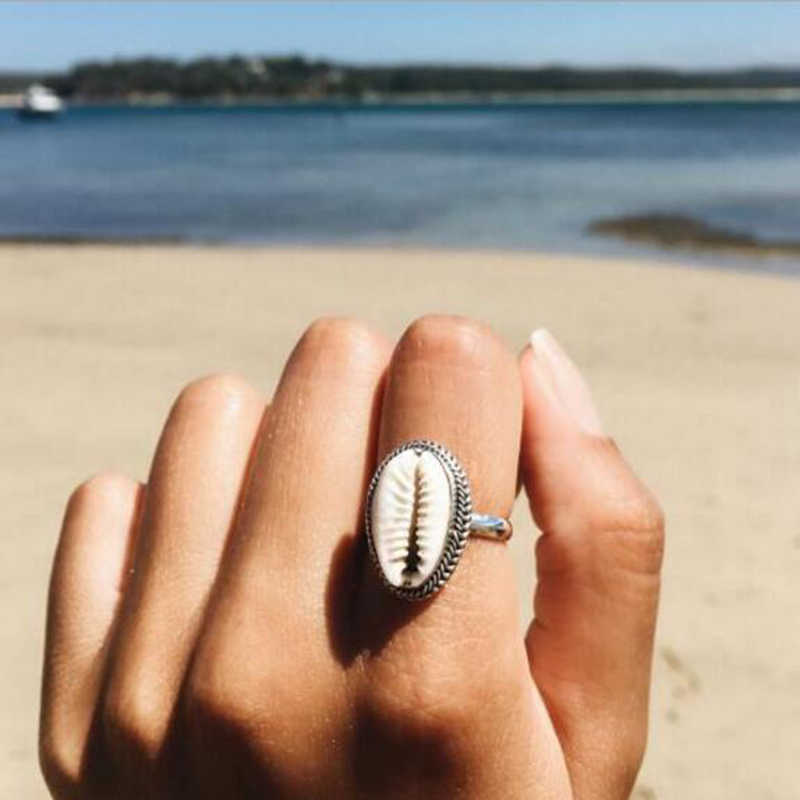 Tocona 1pc Bohemian Sea Shell Rings for Women Summer Beach Finger Jewelry Wedding Bands Fashion Accessories 4282