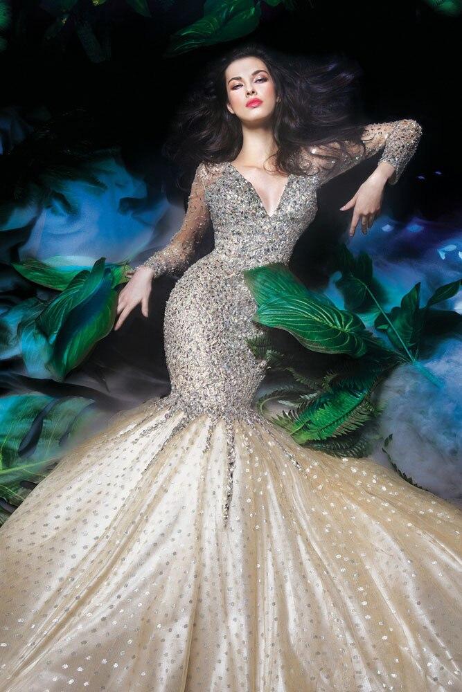 2016 Time-limited Robe De Soiree Courte Abendkleider 2017 Luxury See Through Rhinestone Mermaid   Evening     Dress   Prom Tull Jc-13