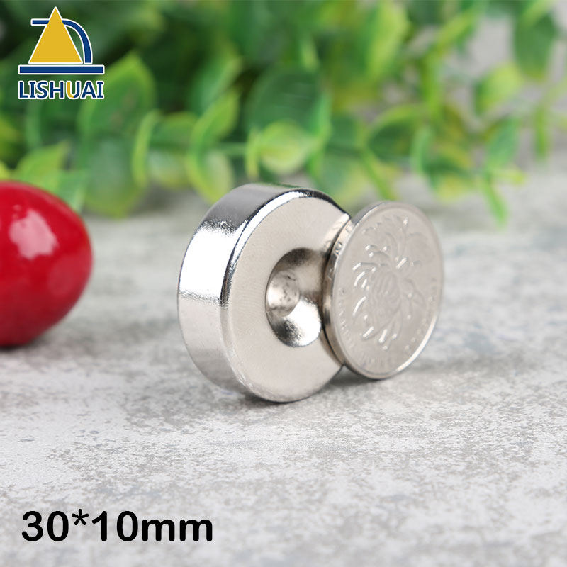 LISHUAI New 2pcs 30 mm x 10 mm Strong Ring Magnets Countersunk Hole 6 mm Rare Earth Neodymium Circular magnet Neodymium magnet new arrival neodymium magnet imanes n35 25x10x3mm strong ring countersunk rare earth new arrival 2015 women jackets coats