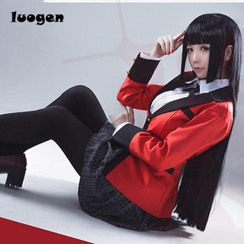 Anime Kakegurui Yumeko Jabami Cosplay Kostüme Japanischen Schule Mädchen Einheitliche Vollen Satz jacke + hemd + rock + strümpfe + krawatte