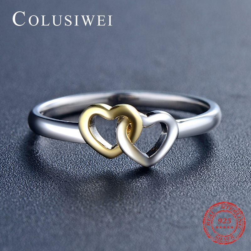 New Hot Bands Jewelry Double Hearts silver rings Soild 925 sterling silver Heart Ring 2017 Collection Summer for women Gift
