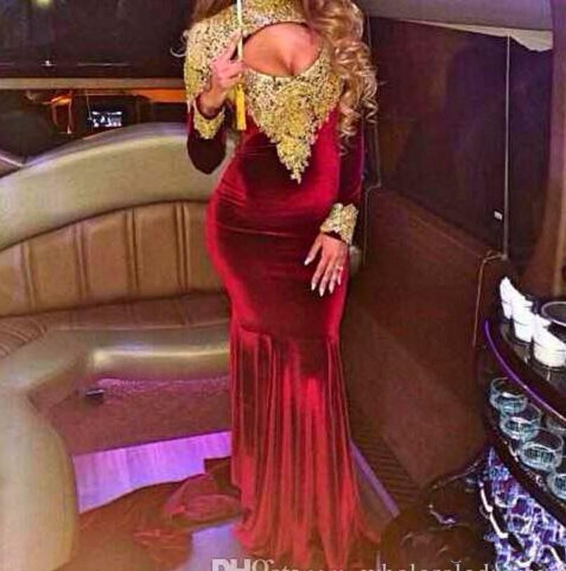 1b52d3b8e82 Sexy High Neck Velvet Burgundy Mermaid Prom Dresses 2019 Sheer Back Gold  Lace Appliques Wine Red Long Sleeve Prom Dress-in Prom Dresses from  Weddings ...