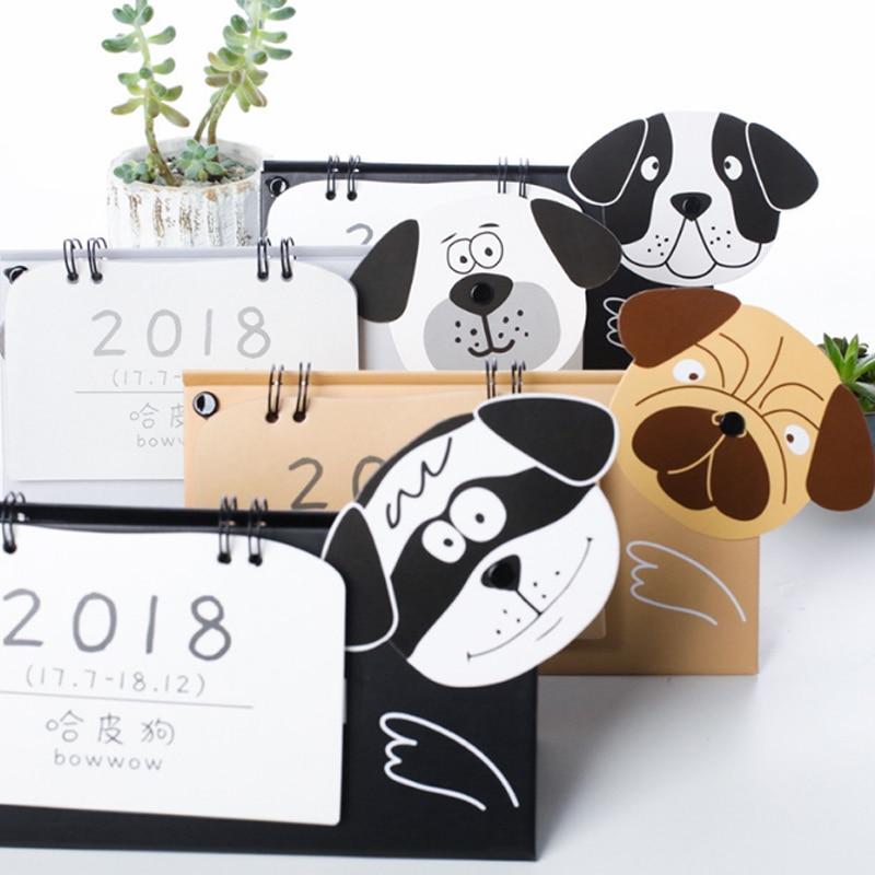 1 Pcs/set 2018 Kawaii Dog Mini Desktop Paper Calendar Dual Daily Scheduler Table Planner Yearly Agenda Organizer