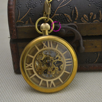 New Bronze Retro Vintage Classic Roman Number Brass Mechanical Pocket Watch Fob Watches With Short Waist