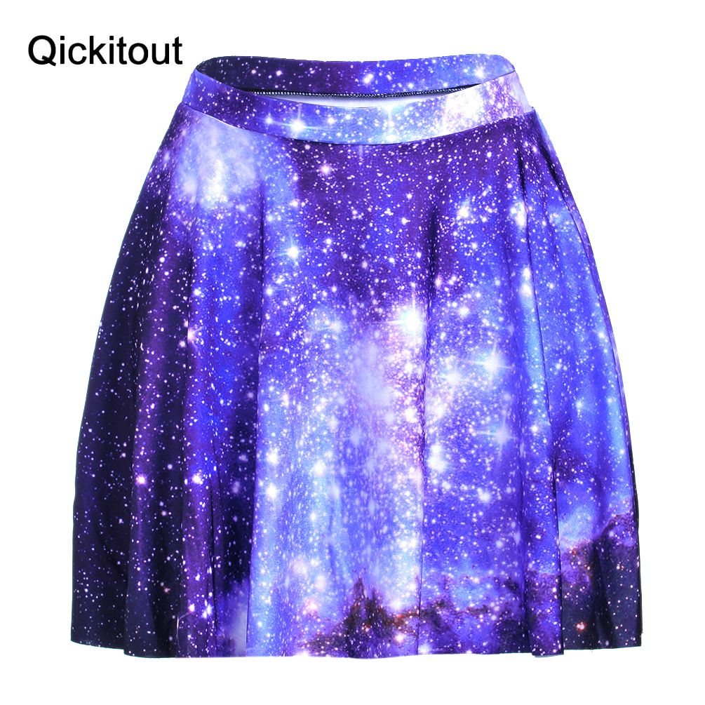 Qickitout Faldas caliente más tamaño verano mujeres mini moda sexy Slim  mujeres Galaxy estrella azul Faldas 3D digital impresión Faldas 13630ddeb66