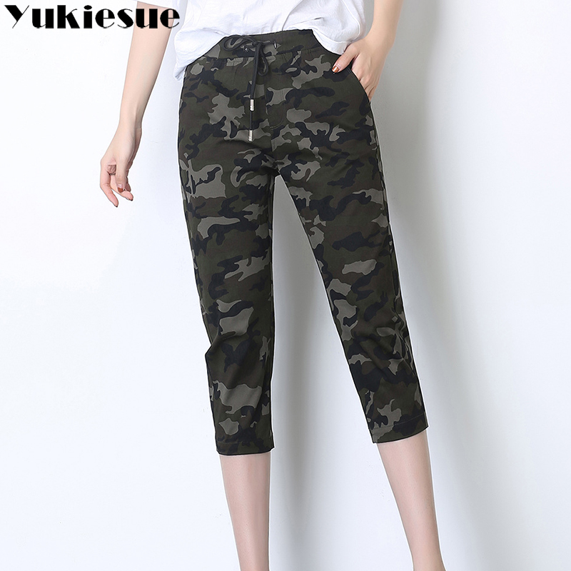 Camouflage cargo   pants     capri   women 2018 summer high waist elastic Camo Sweatpant Fashion Ladies Trousers female Plus size XXXXL